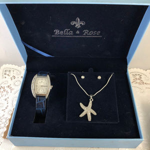 Bella Rose Watch Star Fish and CZ Earrings NIB